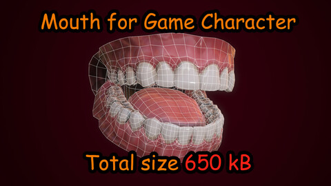 Mouth Teeth for Game Character Low-poly 3D model