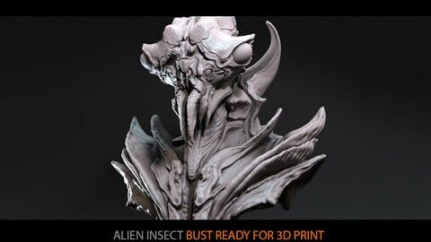 Alien insect (bust ready for 3D print)