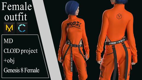 Female Modern Outfit №3. Clo 3D / Marvelous Designer project +obj