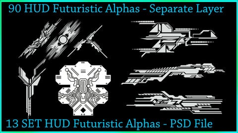 90 HUD Futuristic Alphas - PSD File With Separate Layer
