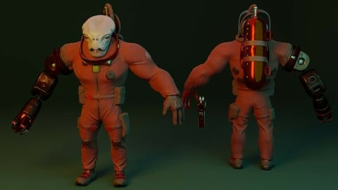 Alien in a spacesuit 3d model low poly