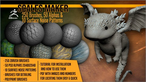 Scales Maker: 250 ZBrush Brushes, 50 Alphas, and 10 Surface Patterns