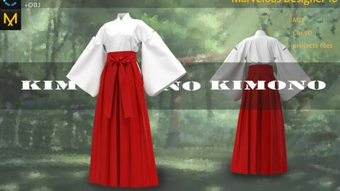 Japanese/Asian Kinmono_女性の漢服&着物__Marvelous Designer, Clo3d clothes_OBJ&FBX(if needed)_Zbrush Practice
