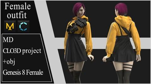 Female Modern Outfit №2. Clo 3D / Marvelous Designer project +obj