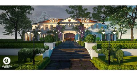 Exterior Villa Scene - UE4 | FBX | OBJ