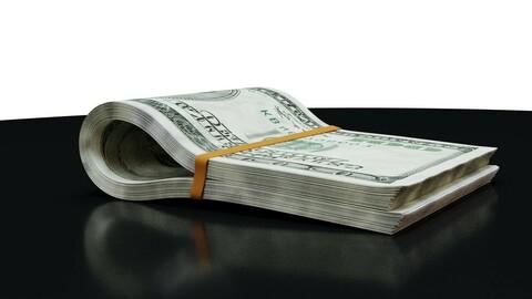 Money Roll - Stack - 100 Dollars - Coins - 3D Model 3D model