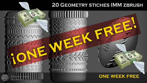 🧵 🧶[ONE week FREE] 20 Geometry STICHES IMM {BRUSHES} Zbrush !
