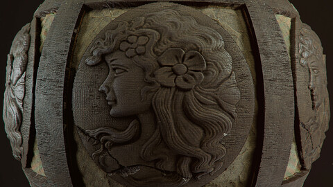 PBR - FRAME CARVED IN WOOD - 4K MATERIAL
