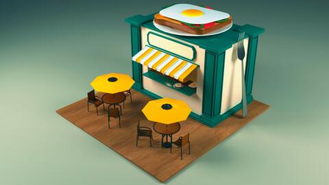 Restaurant Low poly 3D model