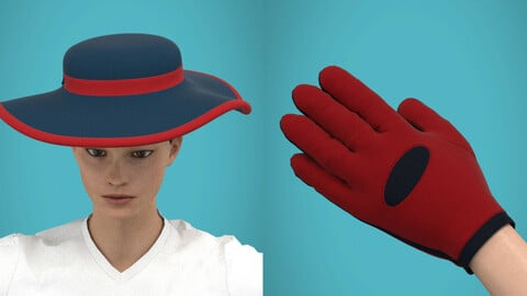 Hat and glove Clo3d high poly 3d model