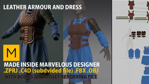 Chest Leather Armour, leather shoulder armour, and Dress in Marvelous Designer  .zprj plus marmoset file