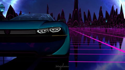 CAR   ( Peugeot E-Legend Concept with Cyber Background )