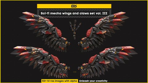 Sci-fi mecha wings and claws images set vol. III