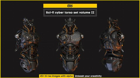 Sci-fi cyber torso images set volume II