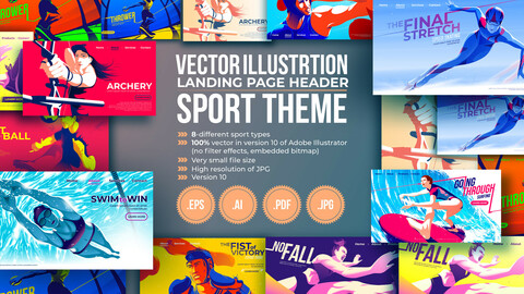 Vector Illustration in Sport Theme for a Landing Page Header