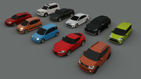 collection of 10 low poly cars