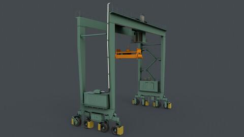 PBR Rubber Tyred Gantry Crane RTG V1 - Green Light