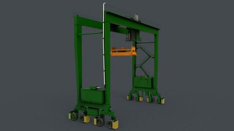 PBR Rubber Tyred Gantry Crane RTG V1 - Green