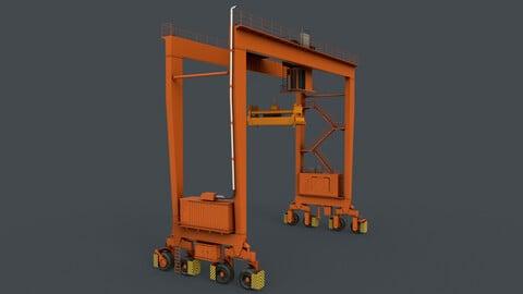 PBR Rubber Tyred Gantry Crane RTG V1 - Orange