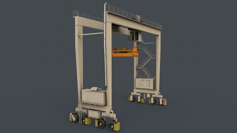 PBR Rubber Tyred Gantry Crane RTG V1 - White
