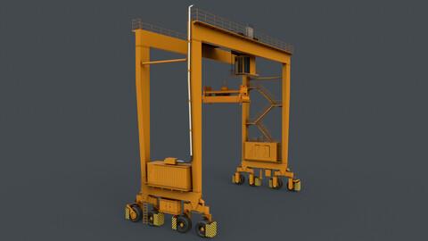 PBR Rubber Tyred Gantry Crane RTG V1 - Yellow Dark
