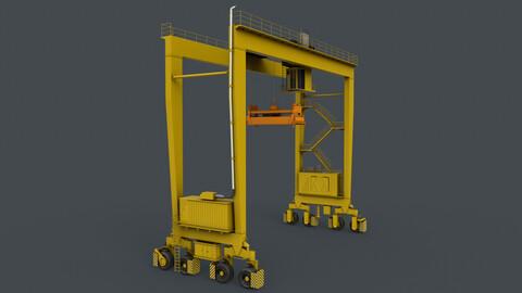 PBR Rubber Tyred Gantry Crane RTG V1 - Yellow Light