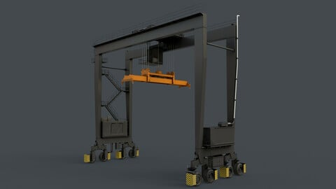 PBR Rubber Tyred Gantry Crane RTG V2 - Black