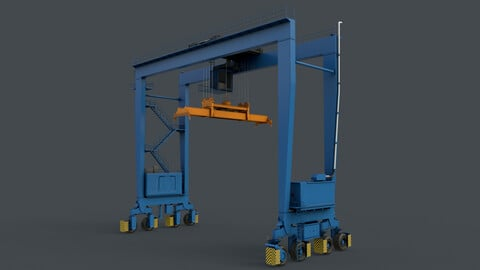 PBR Rubber Tyred Gantry Crane RTG V2 - Blue Light
