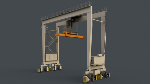 PBR Rubber Tyred Gantry Crane RTG V2 - White