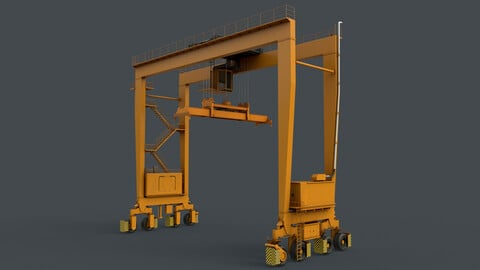 PBR Rubber Tyred Gantry Crane RTG V2 - Yellow Dark