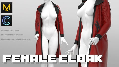 Female Cloak/ Marvelous designer clo3d project 2 zprj files ^-^