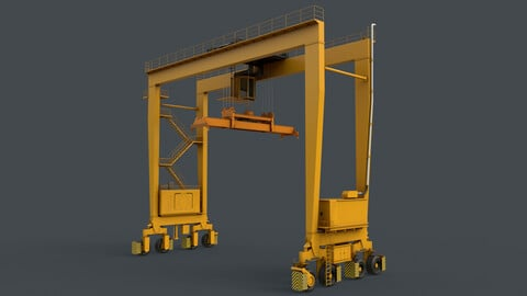 PBR Rubber Tyred Gantry Crane RTG V2 - Yellow