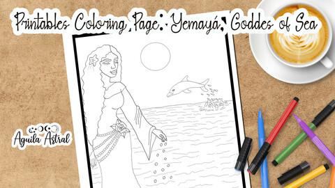 Yemayá, Goddess of the sea, printable coloring page, JPG, PDF