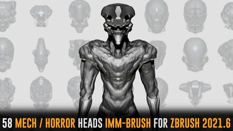 58 Mech/Horror Heads IMM-Brush For Zbrush 2021.6 - Includes OBJ and FBX Version.