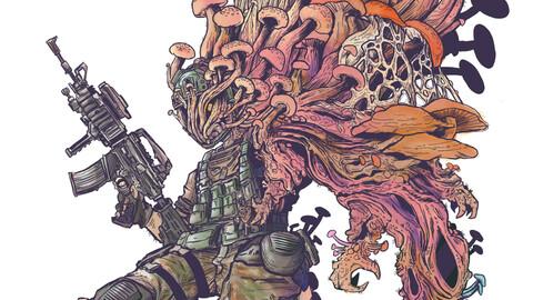 Mushroom fighter - modern soldier Artwork