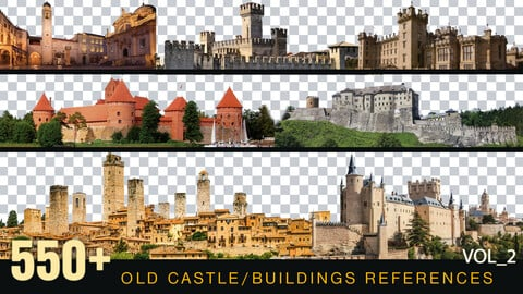 550+ OLD Castles | Buildings Reference pack [Perfect for Mattepainting and Photobash]