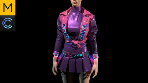 Sci-Fi / Cyberpunk Female Clothing. Marvelous Designer, Clo3d project + OBJ/FBX files. Standard avatar MD&CLO+genesis 8 avatar.(10)