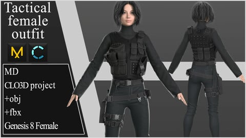 Tactical Female Outfit. Clo 3D / Marvelous Designer project +obj +fbx