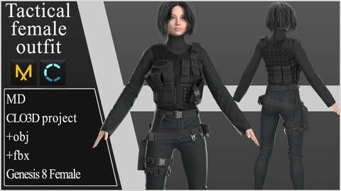 Tactical Female Outfit. Clo 3D / Marvelous Designer project +obj +fbx