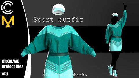 Sport outfit. Marvelous Designer/Clo3d project + OBJ.