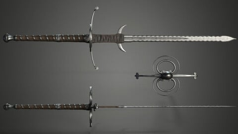 🟥Lowpoly Two-Handed Medieval Flamberge Sword