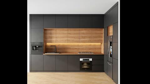 modern kitchen with black cabinet