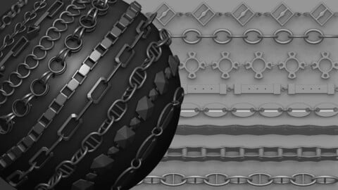 Zbrush - Metal Chains IMM brush set - Vol.1