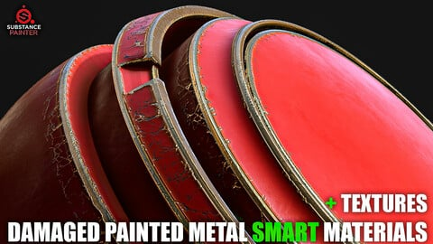 Damaged Painted Metal Smart Materials (Substance Painter + Textures)