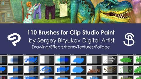 110 Brushes for Clip Studio Paint  by Sergey Biryukov Digital Artist