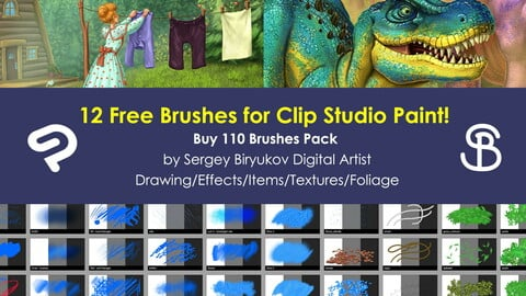12 Free Brushes for Clip Studio Paint by Sergey Biryukov Digital Artist