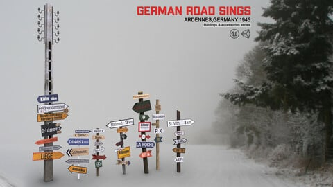 German road signs (Ardennes, Germany 1945)
