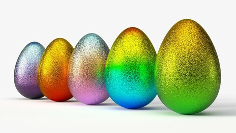 Glittering easter egg  with gradient colors in 4K PBR