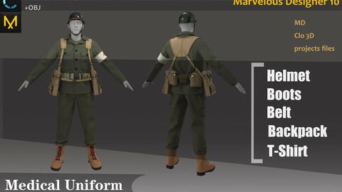 German Military Medical Uniform_Battlefile War Outfit_ Clo3d, Marvelous Designer Project + FBX + OBJ(if needed)