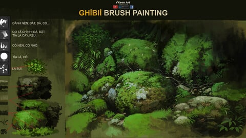 Ghibli Studio Brush | Brush patinting Ghibli Style | Video Tutorial suport.